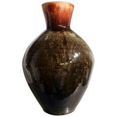 Dark Grey Red Orange Glaze Baluster Vase by Accolay Pottery, France, circa 1950
