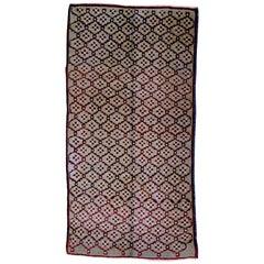1970 Turkey Tulu Rug Hand-Knotted Wool Grey Bordeaux Geometric Design