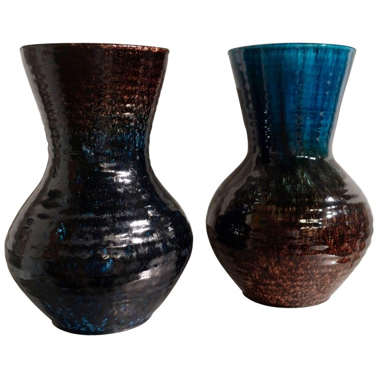 Blue Bordeaux Brown Glaze Pair of Vases by Accolay Pottery, France, circa 1950