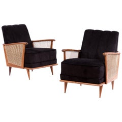 Pair of Giuseppe Scapinelli Armchairs in Caviuna Wood and Fabric, 1950s