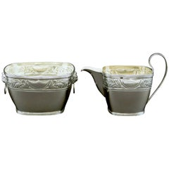 Fine Danish Silver Cream Jug and Sugar Bowl by Simon Groth, Copenhagen, 1890