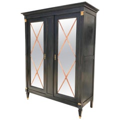Ebonized French Bar Cabinet in the Neoclassical Style