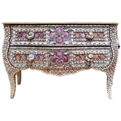 French Louis XV Style Commode with Seashell, Pyrite & Amethysts, circa 1920-1930