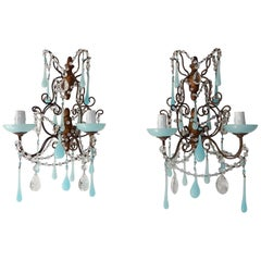 French Baroque Aqua Blue Opaline Drop Bead Bobeches Rock Crystal Sconces
