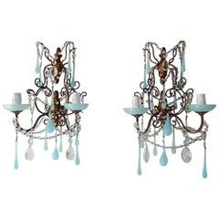 French Baroque Aqua Blue Opaline Drop Bead Bobeches Rock Crystal Sconces