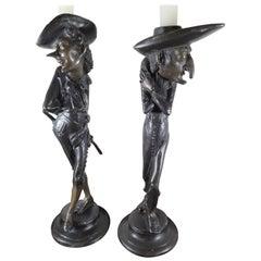 Pair of Fin De Siecle French Grotesque Candlesticks