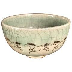 "Japanese Fine ""Galloping Horses"" Tea Bowl, Hand-Built and Hand Glazed, Nagahashi"