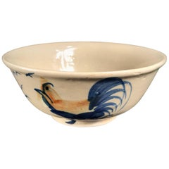 "Japanese Fine ""Proud Rooster & Birds"" Large Bowl, Hand-Built and Hand Glazed"