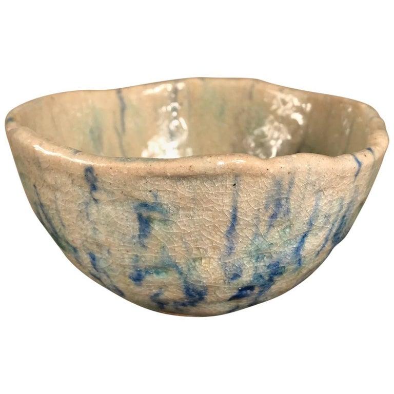 "Japanese Fine Blue ""Impressionist"" Tea Bowl, Hand-Built and Hand Glazed"