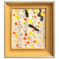 Peter Keil Expressionist Oil and Pencil on Paper Painting of Two Nudes