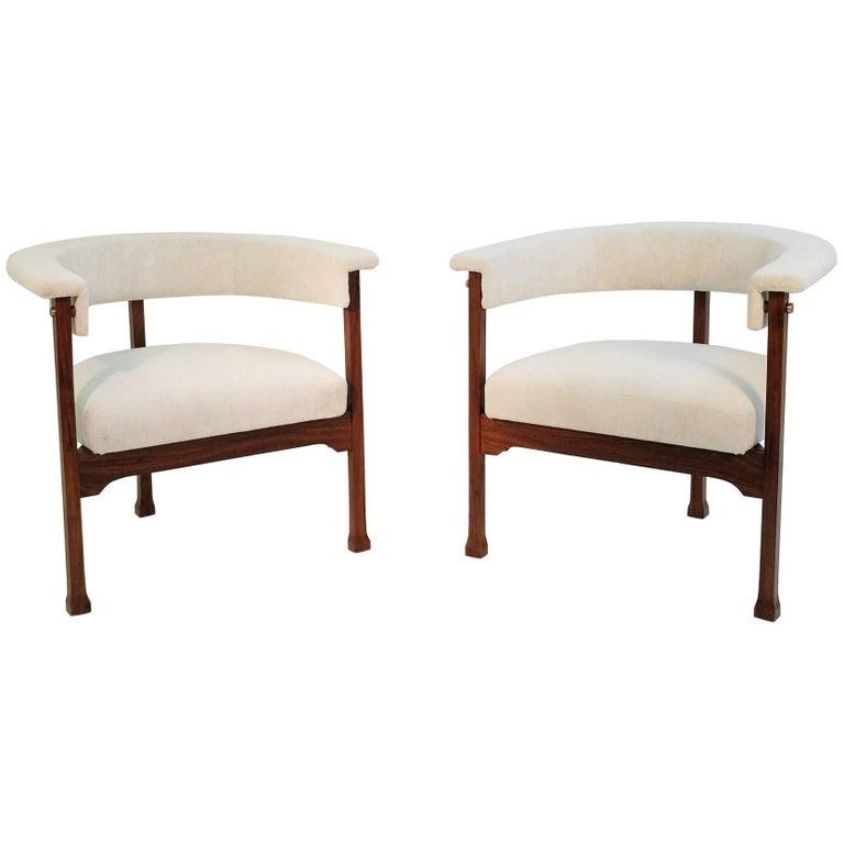 Pair of Saporiti Armchairs, New Upholstery