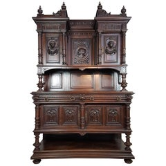 19th Century Italian Renaissance Style Walnut Carved Sideboards