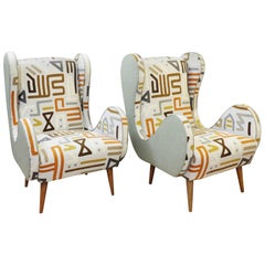 Pair of Italian Armchairs, New Upholstery by Muberry Home, Spring Collection
