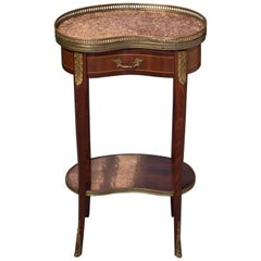 Pretty Kidney Shaped Inlaid Side Table with Marble Top and Brass Gallery
