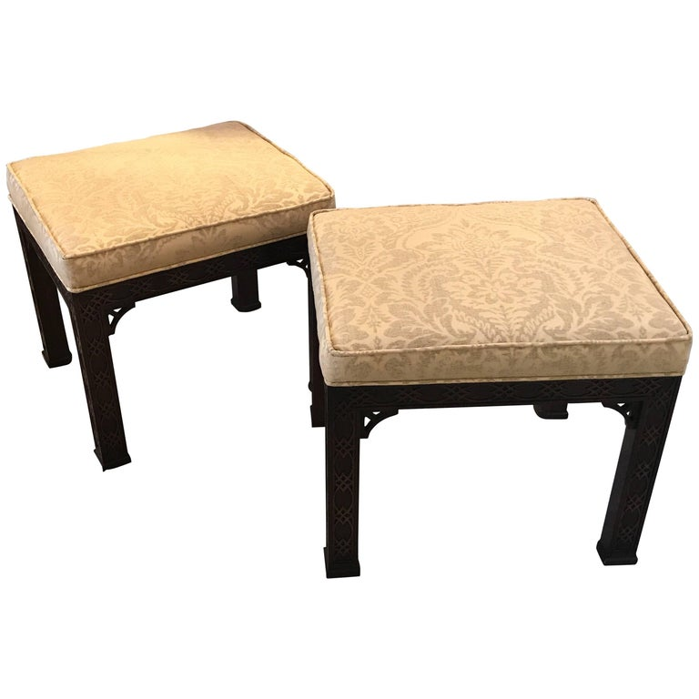 Pair of Chinese Chippendale Mahogany Benches by Kindel