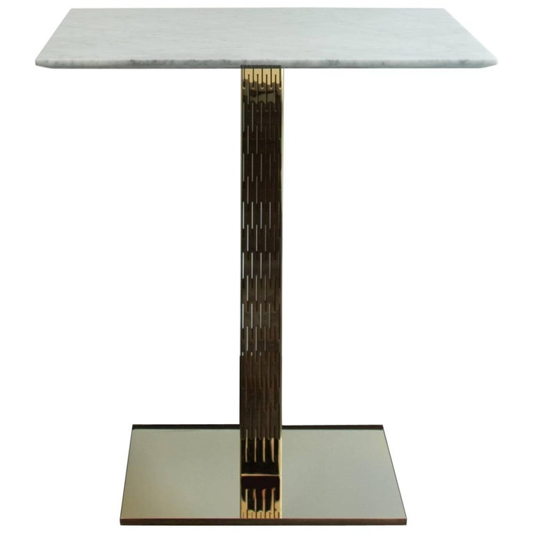 Small Dining Table Italian Marble and Bass-Plated