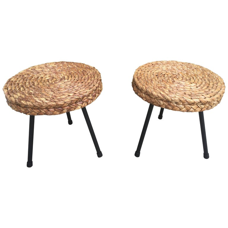 1950s Pair of Rattan and Black Metal Stools Attributed to Audoux Minet, France