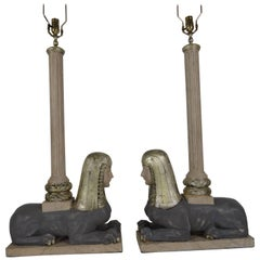 Pair of Italian Wood Sphinx Lamps in the Manner of Bugatti