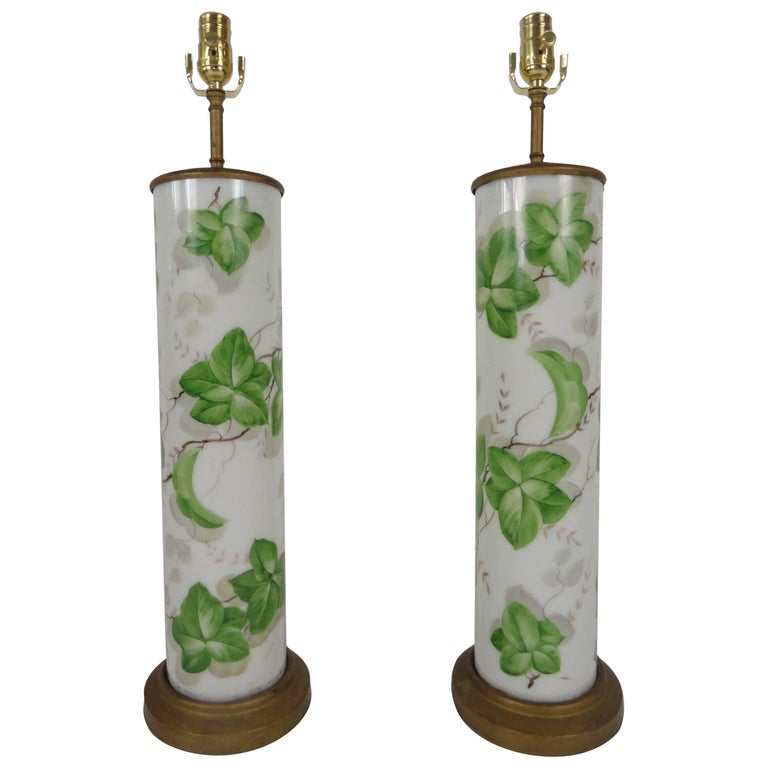 Pair of Large-Scale American Glass Painted Lamps