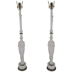 Pair of French Female Figure Metal Lamps