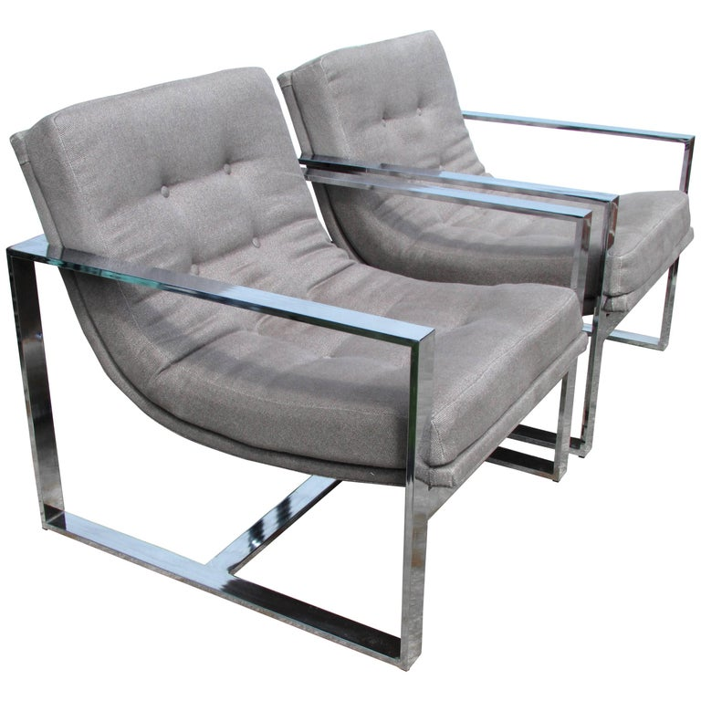 Pair of Milo Baughman Cube Chairs For Sale