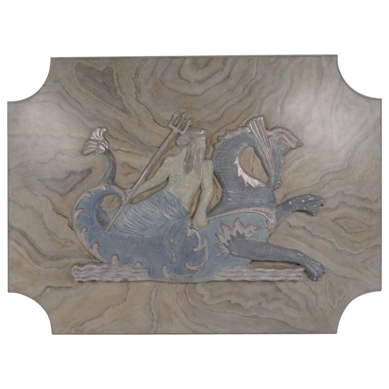 20th Century Carved Wood Plaque of Poseidon For Sale
