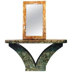 Modern Marble Resin Console and Mirror by Muller's
