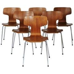 Up to 70 Model 3103 Teak Dining Chairs by Arne Jacobsen for Fritz Hansen, 1960s