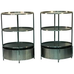 Modern Pair of Polished Steel Triple Tier Stands