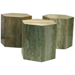 Set of Three Modern Italian Travertine Marble Tables