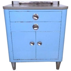 Blue Industrial Metal Dental Cabinet
