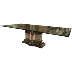 Dining Table with Stainless Steel Column Base by Brueton
