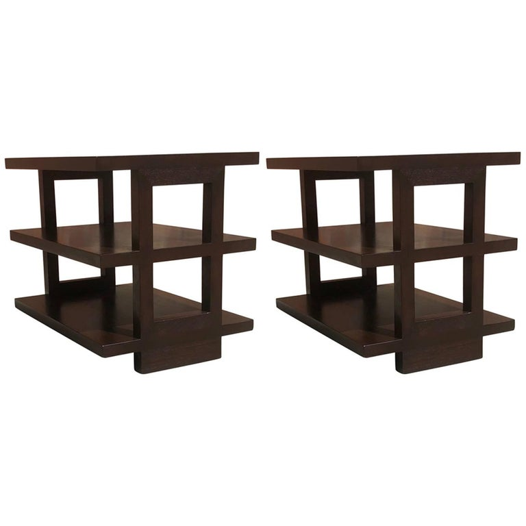 Pair of Dunbar Three-Tier Walnut End Tables For Sale