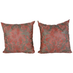 Pair of Bespoke Cotton Fortuny Style Pattern Pillows