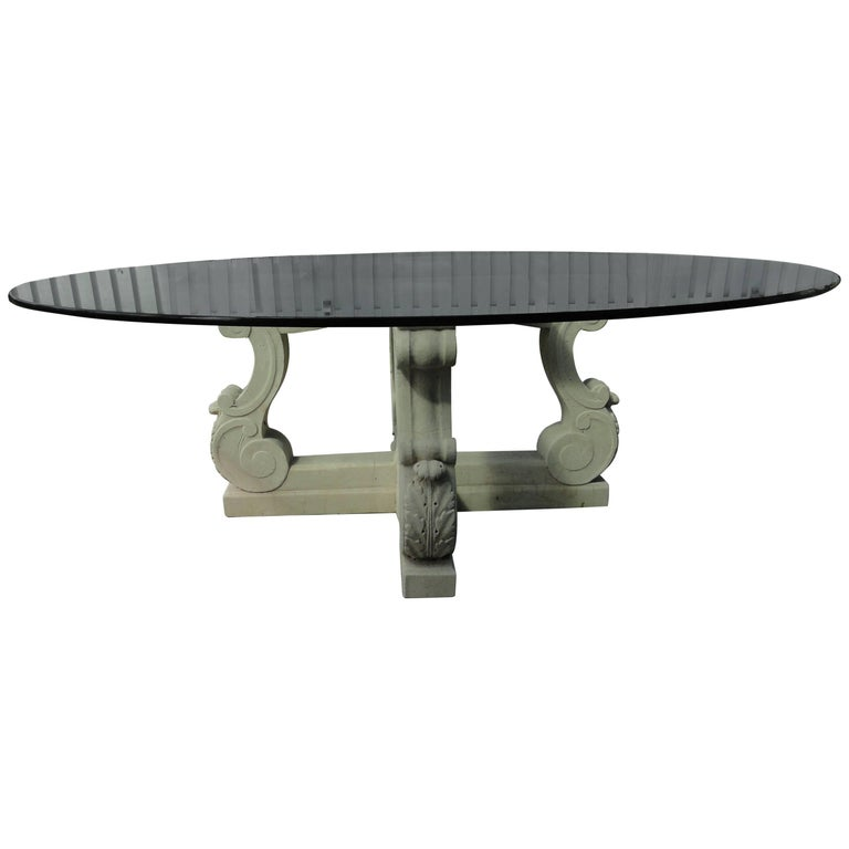 Michael Taylor Four-Lyre Concrete Table Base