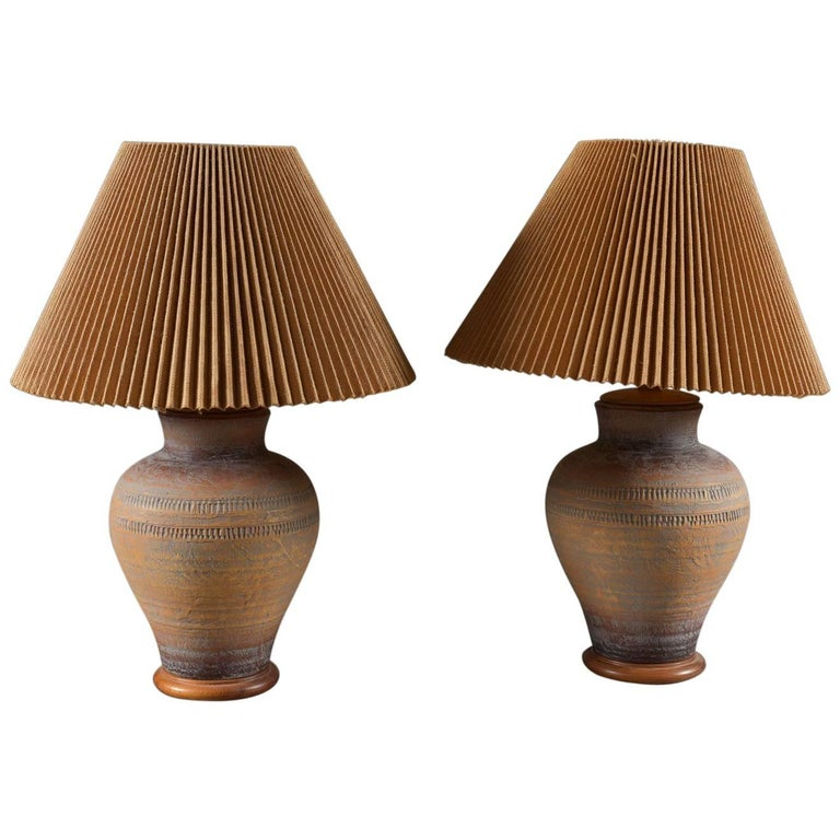 Pair of Danish Modern Pottery Lamps