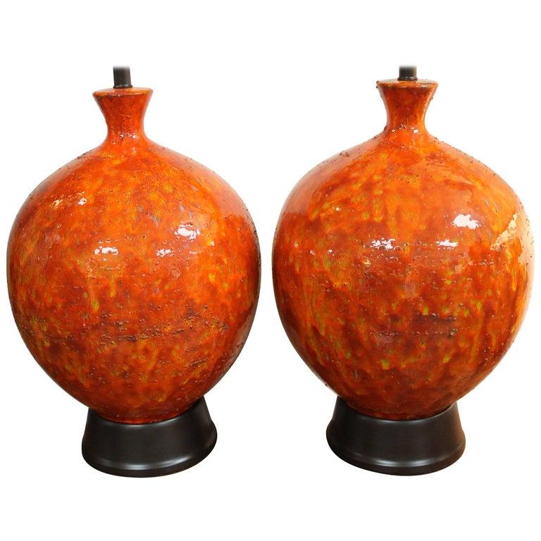Pair of Ceramic Orange, Yellow, Green Lamps