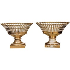 Pair of Old Paris Reticulated Porcelain Compotes, Paris, circa 1825