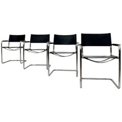 Mart Stam Bauhaus Leather MG5 Dining Chairs by Matteo Grassi, 1970s, Set of Four