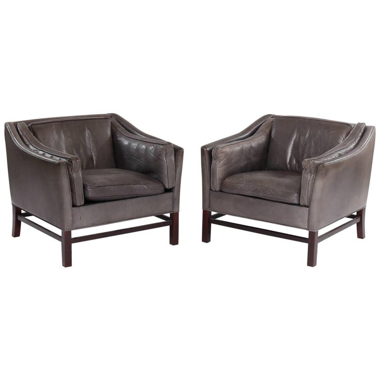 Pair of Danish 1960s Club Chairs Upholstered in Leather