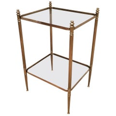 Neoclassical Style Brass End Table with Clear Glass Shelves