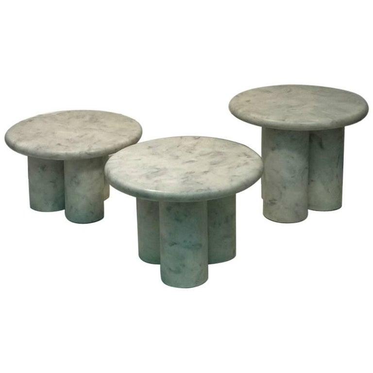 Set of Three Italian Modern Resin Marble Tables