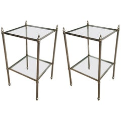 Pair of French Neoclassical Style Silvered Brass Side Tables