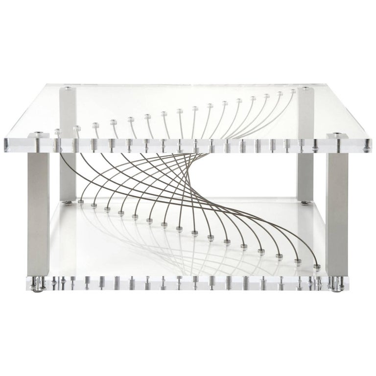 Acrylic Argon, Modern Industrial Plexiglas Coffee Table with Metal and Lucite