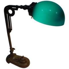 Art Deco Bronze Desk Lamp with Original Green Glass Shade