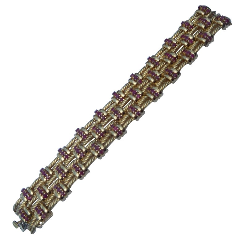Tiffany & Co. 18 Karat Gold and Ruby Bracelet For Sale