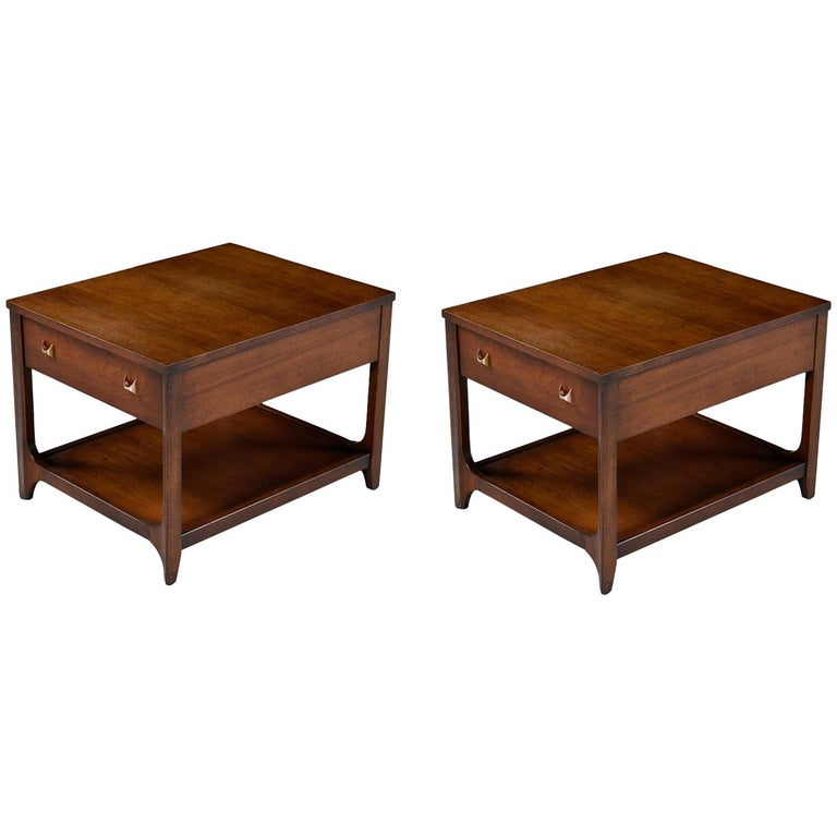 Broyhill Brasilia Nightstand Bedside End Tables, Walnut Chairside Tables For Sale