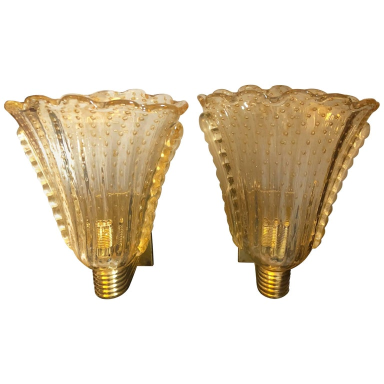 Set of Two MId-Century Modern Italian Murano Glass and  Brass Wall Sconces 1970