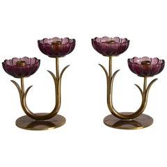 Gunnar Ander Ystad Metall Schweden Brass Purple Flowers Candleholder