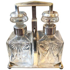 Art Deco Italian silver Plated and Engraved Crystal Tantalus, circa 1930